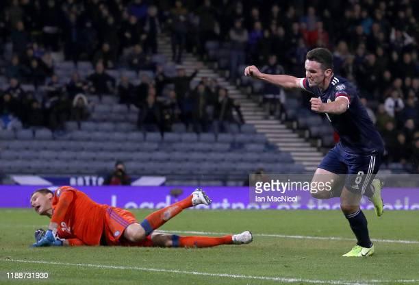 John McGinn of Scotland celebrates after scoring his team's third goal during the UEFA Euro 2020 qualifier between Scotland and Kazakhstan at Hampden...