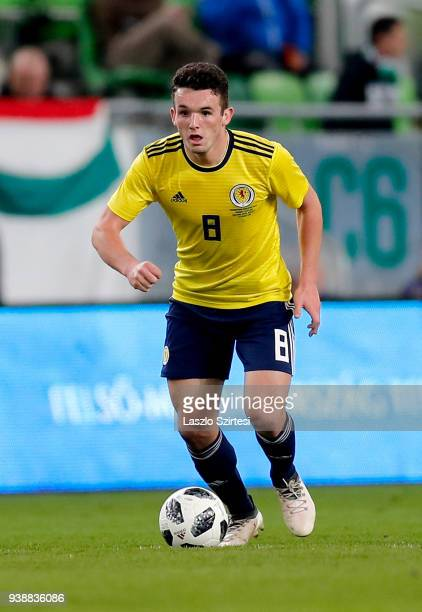 John McGinn of Scotland in action during the International Friendly match between Hungary and Scotland at Groupama Arena on March 27 2018 in Budapest...
