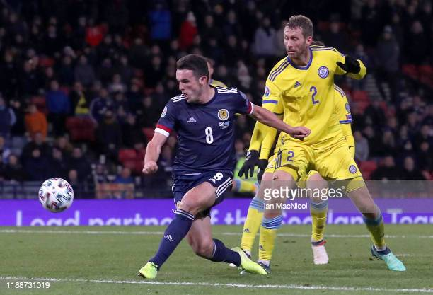 John McGinn of Scotland scores his team's third goal during the UEFA Euro 2020 qualifier between Scotland and Kazakhstan at Hampden Park on November...