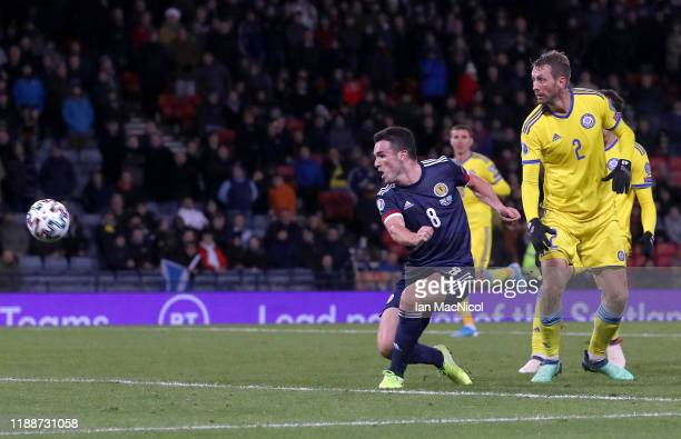 John McGinn of Scotland scores his team's third goal during the UEFA Euro 2020 qualifier between Scotland and Kazakhstan at Hampden Park on November...