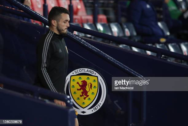 John McGinn of Scotland walks onto the pitch ahead of the UEFA Nations League group stage match between Scotland and Czech Republic at Hampden Park...
