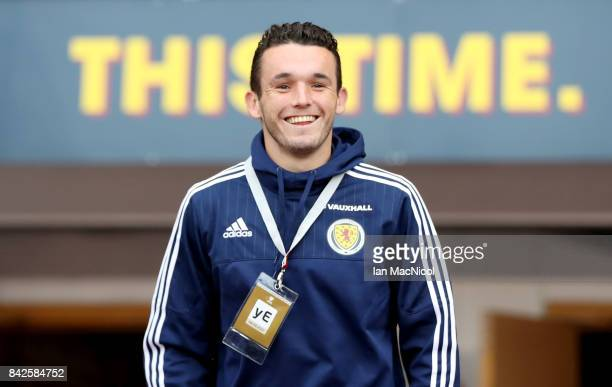 John McGinn of Scotland walks out to look around the stadium prior to the FIFA 2018 World Cup Qualifier between Scotland and Malta at Hampden Park on...