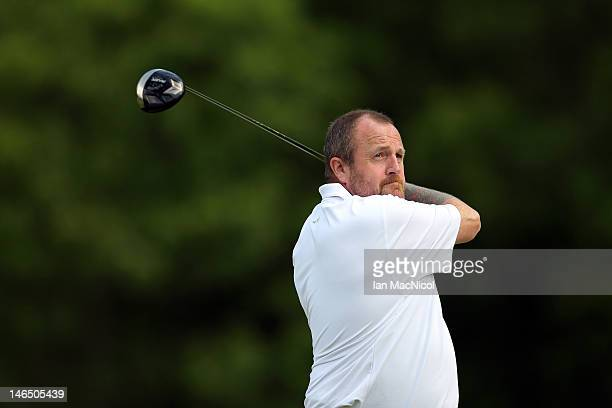 John McHardy of Marriott Dalmahoy Golf and Country Club drives off during the Virgin Atlantic PGA National Pro-Am Championship - Regional Final at...