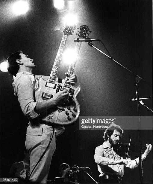 John McLaughlin and Jean-Luc Ponty from the Mahavishnu Orchestra perform live on stage in Amsterdam, Netherlands in 1974