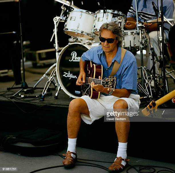 John McLaughlin performs on stage at the Jazz A Vienne Festival held in Vienne France in July 1998
