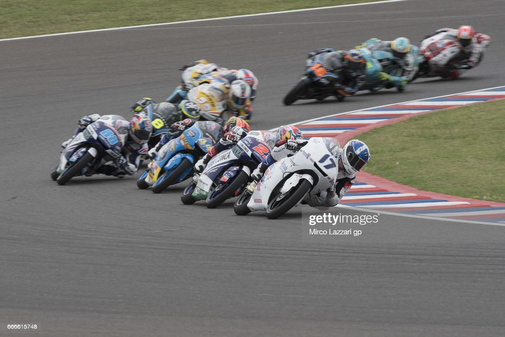 John McPhee of Great Britain and British Talent Team leads the field during the Moto3 race during the MotoGp of Argentina - Race on April 9, 2017 in Rio Hondo, Argentina.