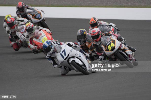John McPhee of Great Britain and British Talent Team leads the field during the Moto3 race during the MotoGp of Argentina Race on April 9 2017 in Rio...
