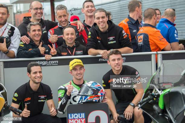 John McPhee of Great Britain and CIP Green Power celebrates the second place in Moto3 at the end of the qualifying practice during the MotoGP of...
