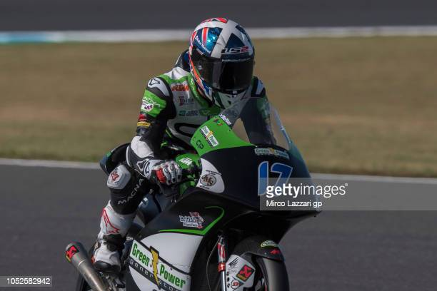 John McPhee of Great Britain and CIP Green Power heads down a straight during the MotoGP of Japan Qualifying at Twin Ring Motegi on October 20 2018...