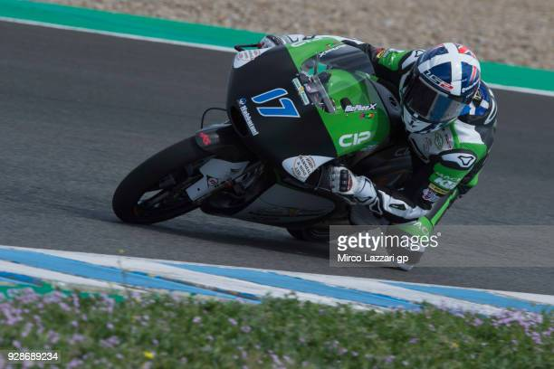 John McPhee of Great Britain and CIP Green Power KTM rounds the bend during the Moto2 Moto3 Tests In Jerez at Circuito de Jerez on March 7 2018 in...