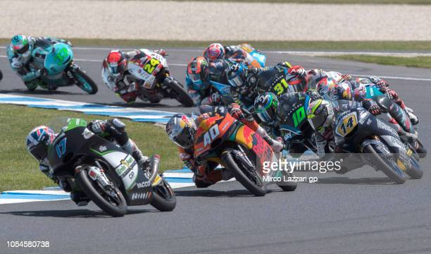 John McPhee of Great Britain and CIP Green Power leads the field during the Moto3 race during the MotoGP of Australia Race during the 2018 MotoGP of...