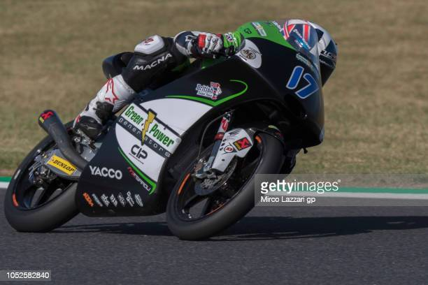 John McPhee of Great Britain and CIP Green Power rounds the bend during the MotoGP of Japan Qualifying at Twin Ring Motegi on October 20 2018 in...