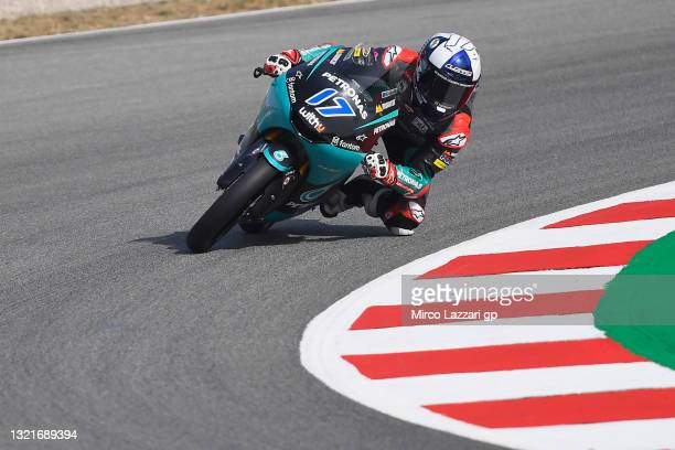 John McPhee of Great Britain and Petronas Sprinta Racing rounds the bend during the MotoGP of Catalunya - Free Practice at Circuit de...