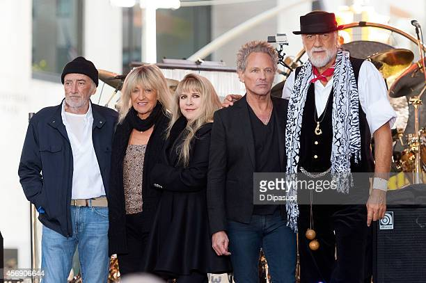 John McVie Christine McVie Stevie Nicks Lindsey Buckingham and Mick Fleetwood of Fleetwood Mac pose onstage during NBC's 'Today' at Rockefeller Plaza...
