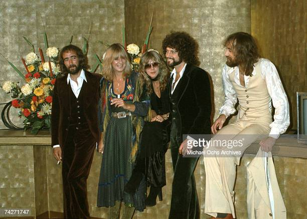 John McVie Christine McVie Stevie Nicks Lindsey Buckingham and Mick Fleetwood of the rock group 'Fleetwood Mac' attend an event in circa 1977