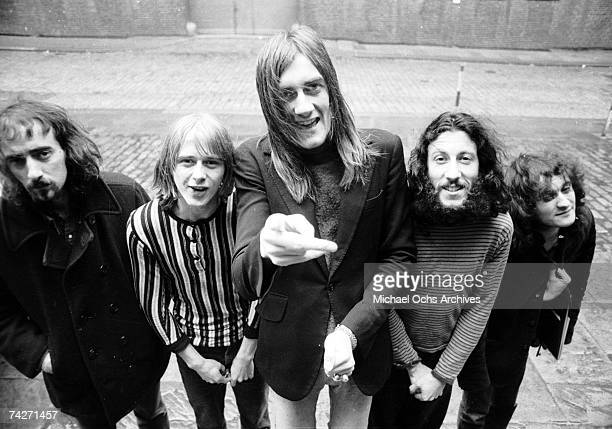 John McVie Danny Kirwan Mick Fleetwood Peter Green and Jeremy Spencer of the rock group 'Fleetwood Mac' pose for a portrait in 1969 in Los Angeles...