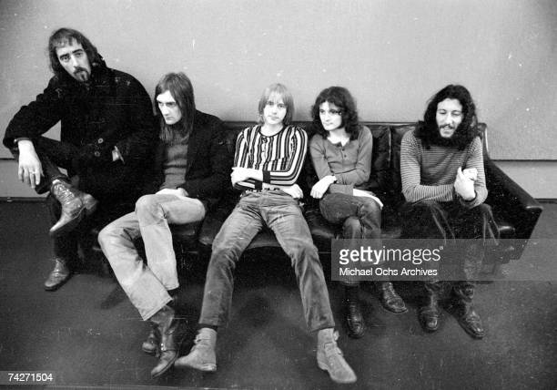 John McVie Mick Fleetwood Danny Kirwan Jeremy Spencer and Peter Green of the rock group 'Fleetwood Mac' pose for a portrait on March 21 1970 in Los...