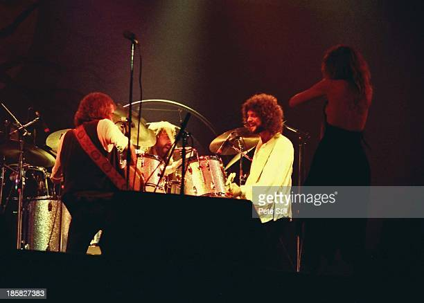 John McVie Mick Fleetwood Lindsey Buckingham and Stevie Nicks of Fleetwood Mac perform on stage at the Glasgow Apollo on April 4th 1977 in Glasgow...