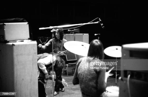 John McVie Peter Green and Mick Fleetwood of British blues rock group Fleetwood Mac rehearsing at the Royal Albert Hall London 22nd April 1969