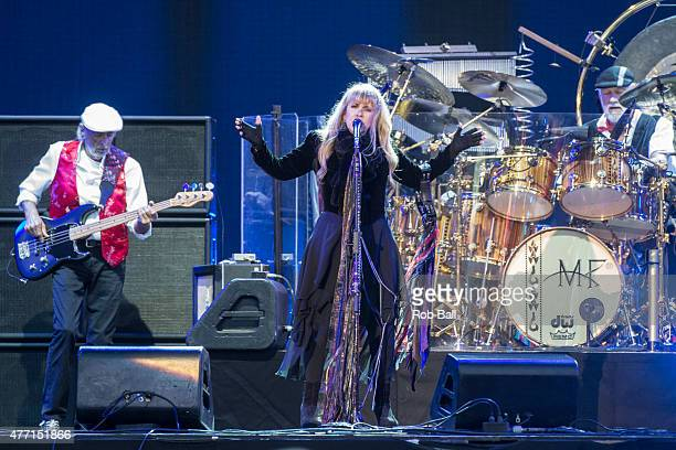 John McVie Stevie Nicks and Mick Fleetwood from Fleetwood Mac perform on Day 4 of the Isle of Wight Festival at Seaclose Park on June 14 2015 in...