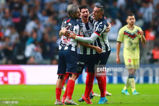 John Medina of Monterrey celebrates with teammates after VAR validates his team's first goal during the Final first leg match between Monterrey and...