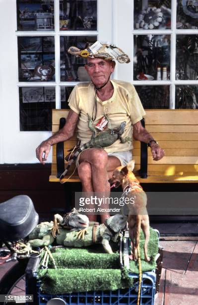 John Meek a wellknown personality around Key West poses with his pet iguana on Duval Street Meek was known as 'The Iguana Man' He raised iguanas in...