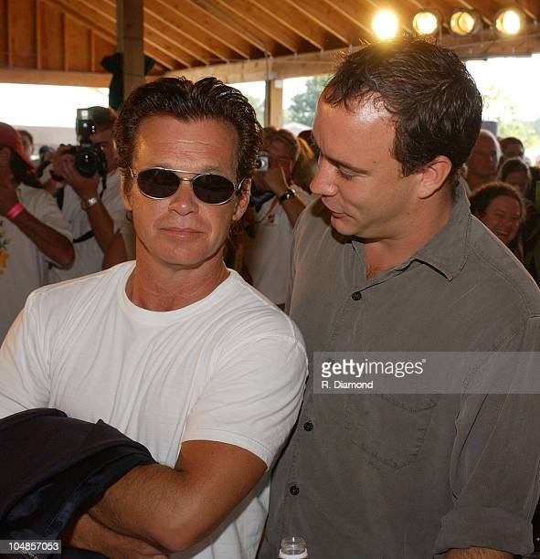 John Mellencamp and Dave Matthews during Farm Aid 2003 Backstage at Germaine Amphitheater in Columbus Ohio United States