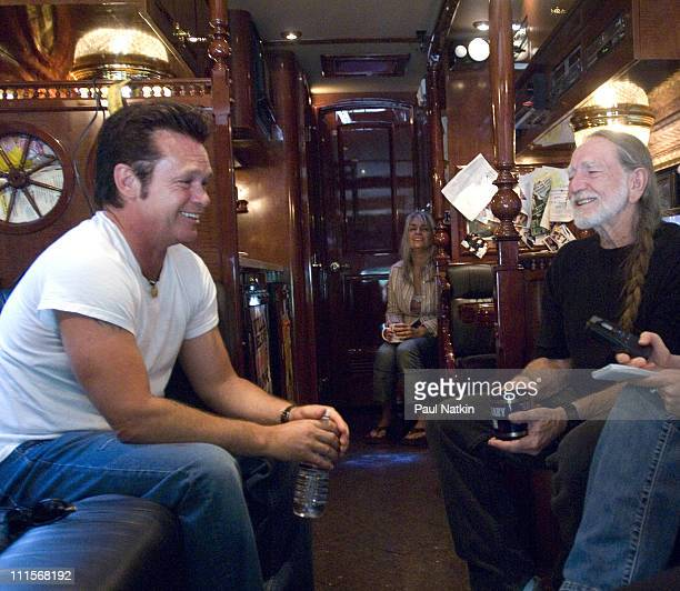 John Mellencamp and Willie Nelson during John Mellencamp and Willie Nelson Announce Farm Aid 2005 Presented by Silk Soymilk at Grant Park in Chicago...