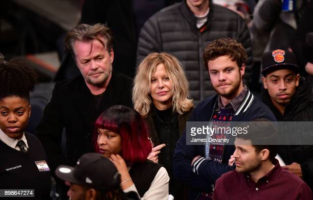 John Mellencamp Meg Ryan and Jack Quaid attend the New York Knicks Vs Philadelphia 76ers game at Madison Square Garden on December 25 2017 in New...