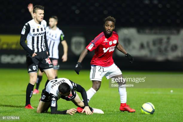John Mendoza of Amiens during the Ligue 1 match between Angers SCO and Amiens SC at Stade Raymond Kopa on January 27 2018 in Angers