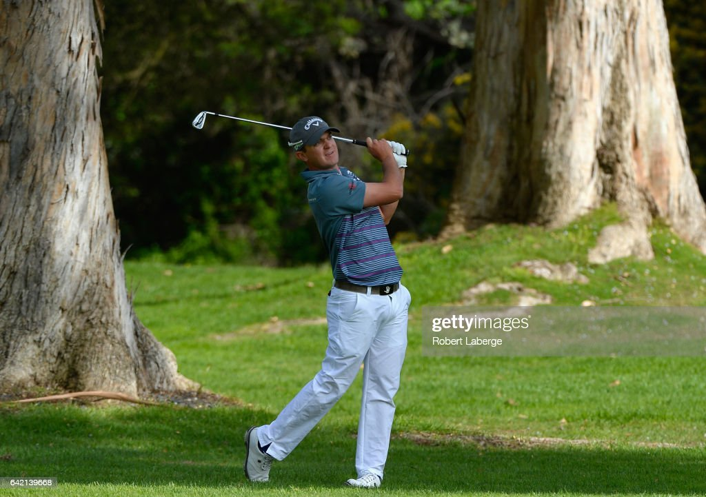 John Merrick plays his shot on the 13th hole during the first round at the Genesis Open at Riviera Country Club on February 16, 2017 in Pacific Palisades, California.