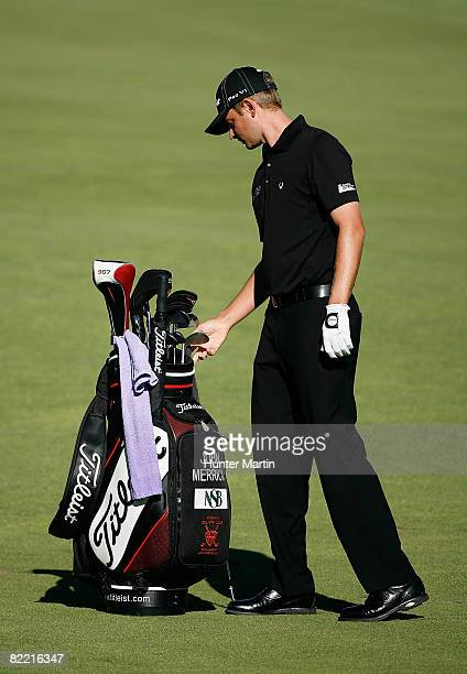 John Merrick pulls a club from his bag during round two of the 90th PGA Championship at Oakland Hills Country Club on August 8 2008 in Bloomfield...