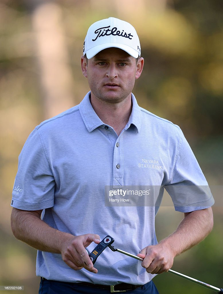 John Merrick reacts to his birdie on the 13th green during the first round of the Northern Trust Open at the Riviera Country Club on February 14, 2013 in Pacific Palisades, California.