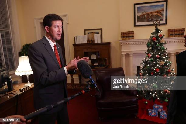 John Merrill Secretary of State of Alabama speaks to the media in the Capitol building about the possible recount to determine the winner between...
