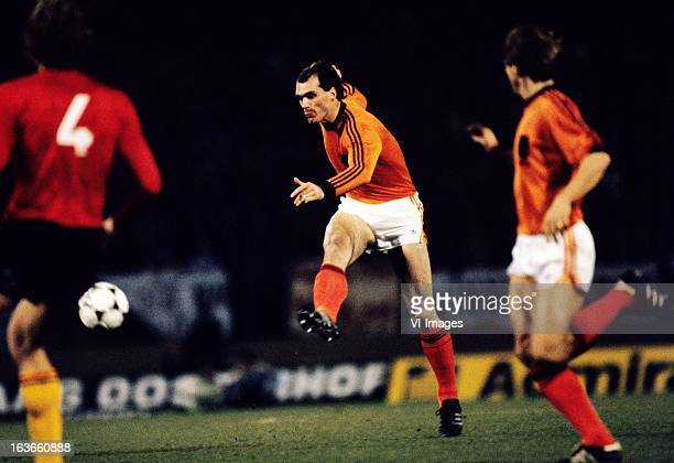 John Metgod of The Netherlands during the World Cup Qualifying Match between Belgium and The Netherlands at the Heizelstadion on november 18 1980 in...