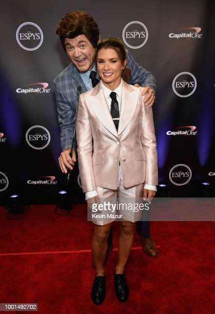 John Michael Higgins and host Danica Patrick attend The 2018 ESPYS at Microsoft Theater on July 18 2018 in Los Angeles California