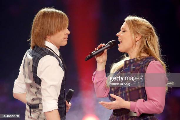 John Michael Kelly and Maria Patricia Kelly perform during the 'Schlagerchampions Das grosse Fest der Besten' TV Show at Velodrom on January 13 2018...
