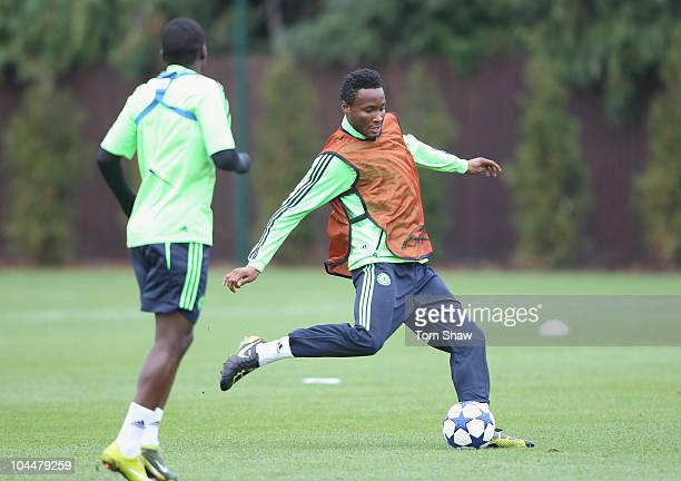 John Mikel Obi of Chelsea in action during the Chelsea training session prior to the Champions League match against Marseille at Cobham Training...