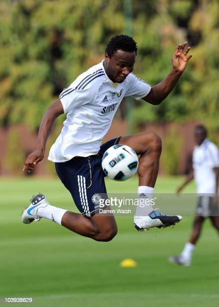 John Mikel Obi of Chelsea on the ball during a training session at the Cobham training ground on September 9 2010 in Cobham England