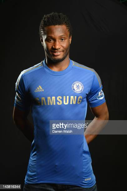 John Mikel Obi of Chelsea poses during a portrait session at the Cobham training ground on April 16 2012 in Cobham England