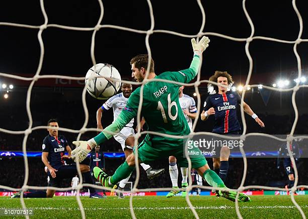 John Mikel Obi of Chelsea scores their first and equalising goal past goalkeeper Kevin Trapp of Paris SaintGermain during the UEFA Champions League...