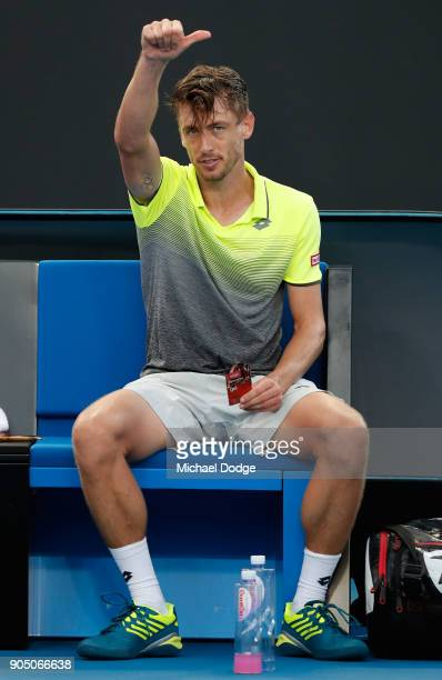 John Millman of Australia acknowledges the crowd after winning his first round match against Borna Coric of Croatia on day one of the 2018 Australian...