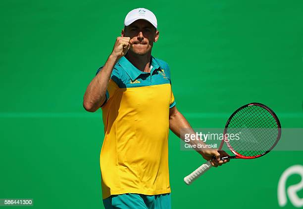 John Millman of Australia celebrates a point against Ricardas Berankis of Lithuania in their first round match on Day 1 of the Rio 2016 Olympic Games...