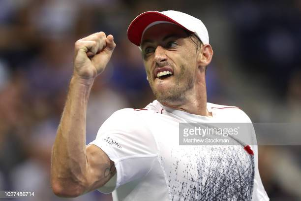 John Millman of Australia celebrates a point during his men's singles quarterfinal match against Novak Djokovic of Serbia on Day Ten of the 2018 US...