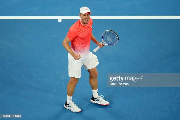 John Millman of Australia celebrates a point in his second round match against Roberto Bautista Agut of Spain during day three of the 2019 Australian...