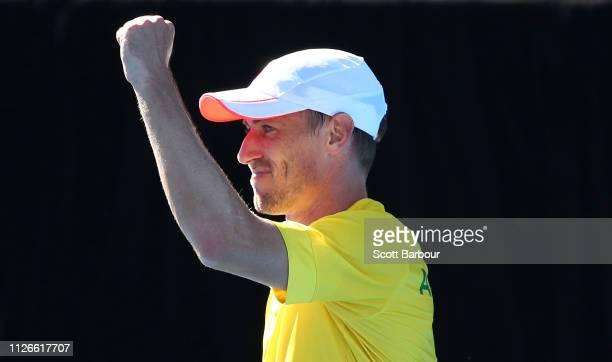 John Millman of Australia celebrates after winning his rubber 1 singles match against Damir Dzumhur of Bosnia / Herzegovina during the Davis Cup...