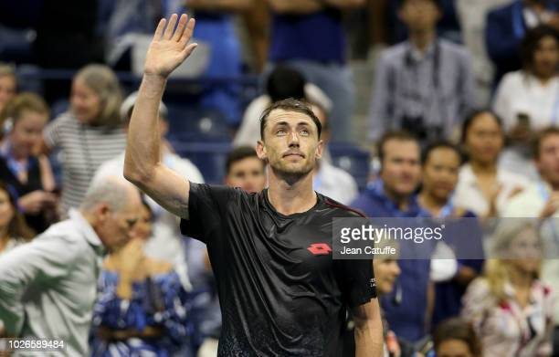 John Millman of Australia celebrates his victory over Roger Federer of Switzerland during day 8 of the 2018 US Open at Arthur Ashe Stadium of USTA...