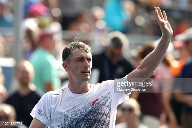 John Millman of Australia celebrates his win in the men's singles first round match against Jenson Brooksby of the United States on Day Two of the...