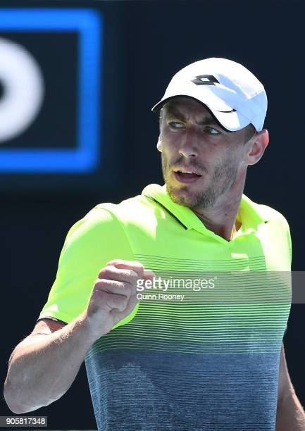 John Millman of Australia celebrates winning a point in his second round match against Damir Dzumhur of Bosnia and Herzogovina on day three of the...