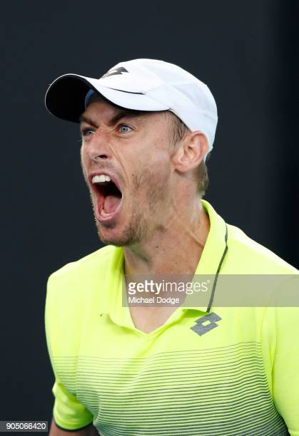 John Millman of Australia celebrates winning his first round match against Borna Coric of Croatia on day one of the 2018 Australian Open at Melbourne...